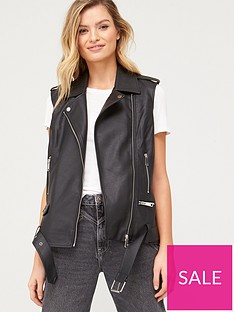 v-by-very-pu-sleeveless-biker-gilet-black