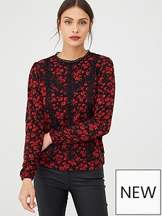 oasis-ditsy-lace-trim-blouse-red