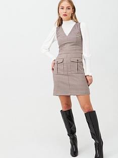 oasis-microcheck-pinafore-dress-check