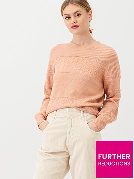 oasis-chloe-cable-and-lurex-stripe-jumper-pink