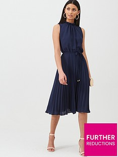 oasis-plain-cape-sleeve-midi-dress-navynbsp