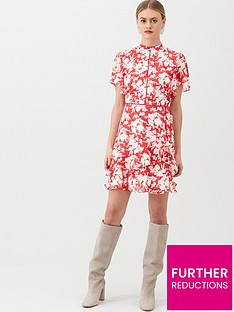 oasis-shadow-floral-chiffon-skater-dress-multired