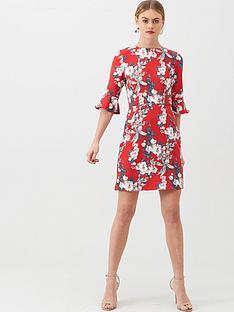 oasis-florence-floral-flute-sleeve-shift-dress