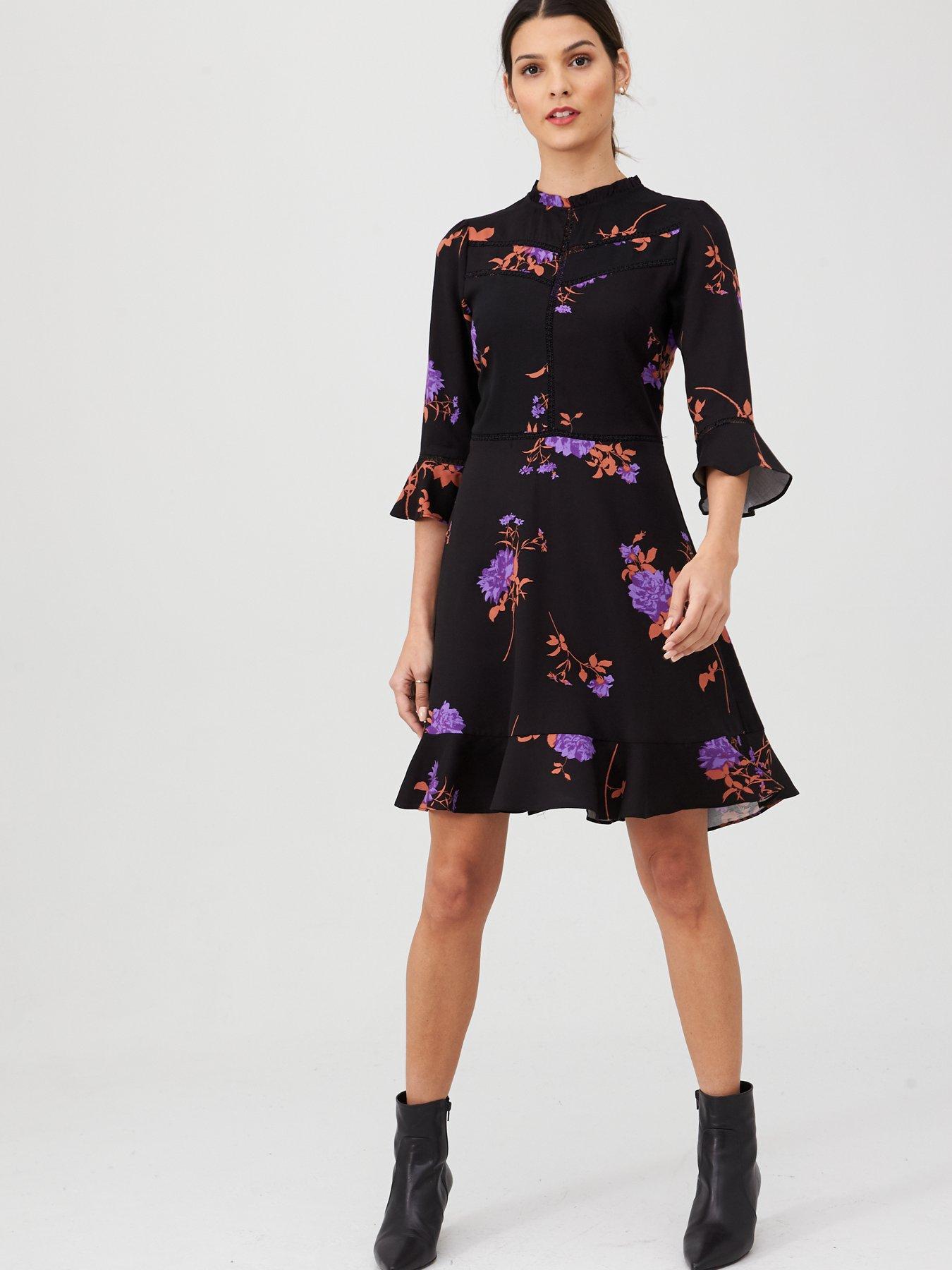 Purple Skater V Open Back Lace Trim Mini Dress UK S 10-12