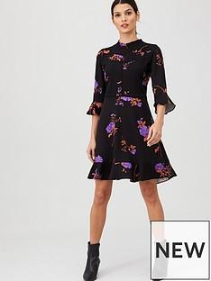 oasis-violet-floral-lace-trim-skater-dress-multi