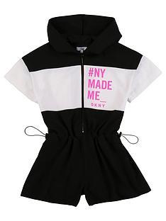dkny-girls-slogan-hooded-playsuit-black