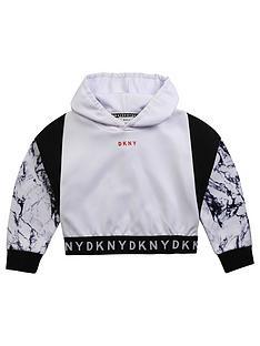 dkny-girls-marble-print-logo-hoodie-white