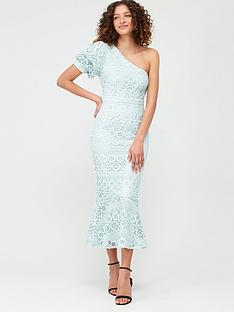 v-by-very-one-shoulder-fluted-hem-lace-dress-blue