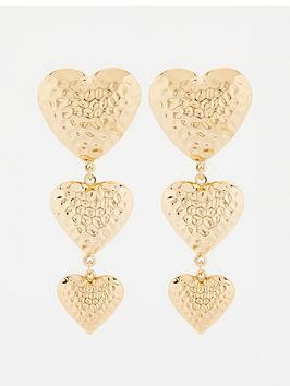 v-by-very-puff-heart-triple-drop-earrings-gold