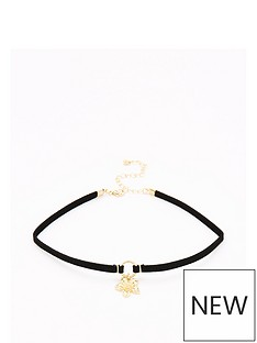v-by-very-flower-drop-choker-necklace-black