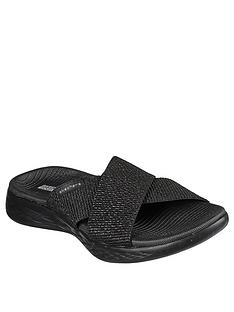 skechers-on-the-go-600-glistening-cross-strap-flat-sandal-black