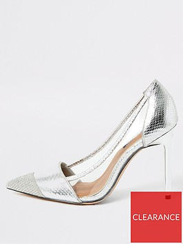 river-island-river-island-perspex-side-metallic-court-shoe-silver