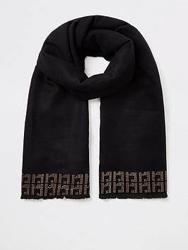 river-island-river-island-embellished-trim-scarf-black