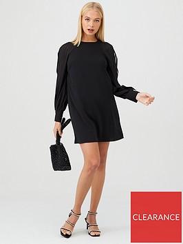 river-island-river-island-sheer-sleeve-swing-dress-black