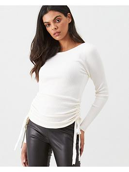river-island-river-island-ruched-side-ribbed-knit-top-cream