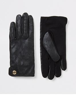 river-island-river-island-embossed-leather-gloves-black
