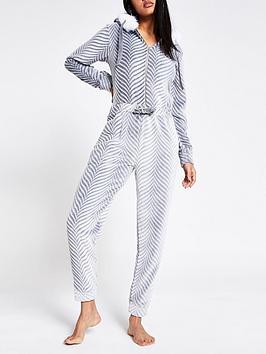 river-island-river-island-herringbone-jersey-loungewear-jumpsuit-grey
