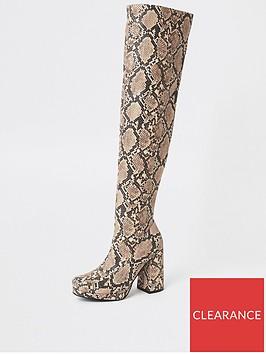 river-island-river-island-platform-printed-over-the-knee-boots-beige