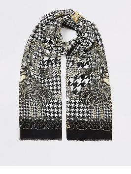 river-island-river-island-dogtooth-chain-print-lightweight-scarf-black