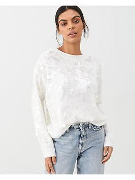 river-island-river-island-sequin-loose-knitted-jumper-cream