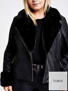 ri-plus-faux-fur-biker-jacket-black