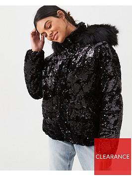 river-island-river-island-sequin-padded-jacket-black