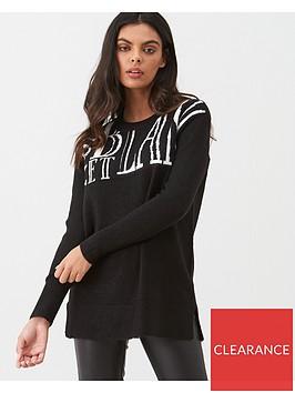 river-island-river-island-slogan-print-knit-jumper-black
