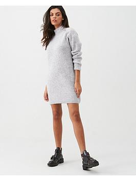 river-island-river-island-button-shoulder-knit-dress-grey