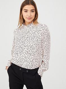 warehouse-spot-print-ruffle-neck-shirt