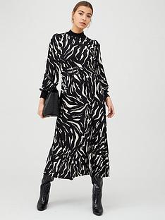 warehouse-zebra-knit-belted-midi-dress-mono