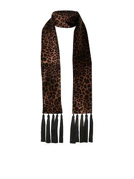 river-island-river-island-leopard-print-velvet-tassel-scarf-brown