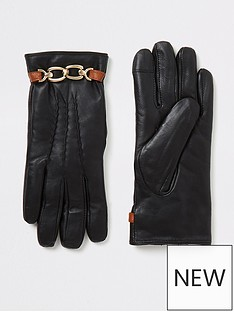 river-island-river-island-leather-gift-boxed-gloves-black