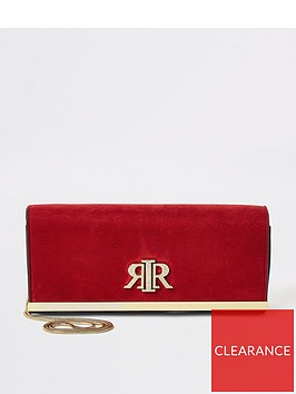 river-island-river-island-suedette-baguette-clutch-bag-red