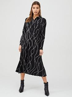 warehouse-chain-print-pleated-midi-shirt-dress-black
