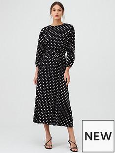 warehouse-belted-spot-midi-dress-black
