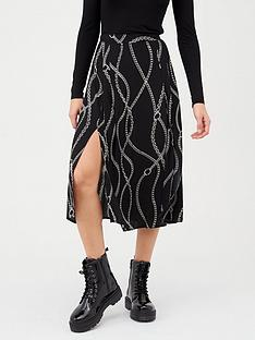 warehouse-chain-print-pleated-midi-skirt-black
