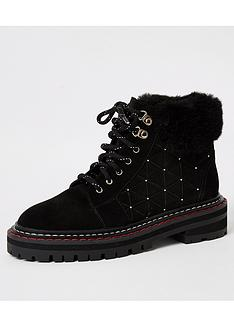 river-island-river-island-lace-up-quilted-suede-hiker-boot-black