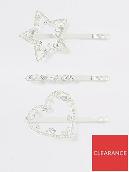 river-island-river-island-heart-and-star-hair-clip-pack-silver