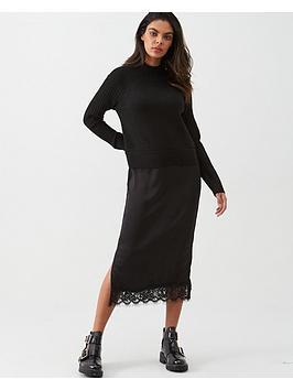 river-island-river-island-satin-midi-knit-jumper-dress-black