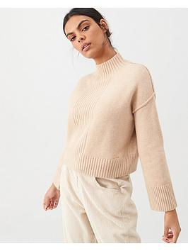 river-island-river-island-high-neck-ribbed-detail-jumper-beige