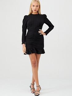 river-island-river-island-textured-long-sleeve-ruched-mini-dress-black