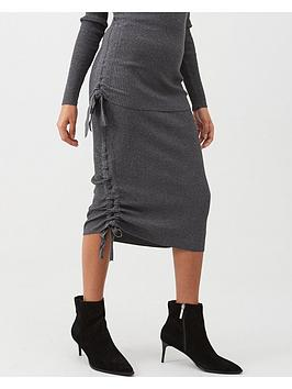 river-island-river-island-ruched-side-ribbed-midi-skirt-grey