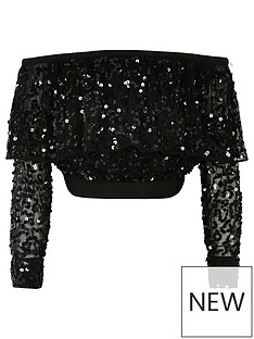 river-island-girls-sequin-bardot-long-sleeve-top-black