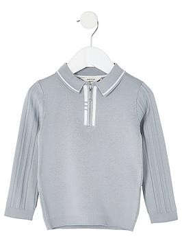 river-island-mini-boys-half-zip-knitted-polo--grey