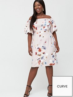 little-mistress-curve-bardot-floral-shift-dress-multi