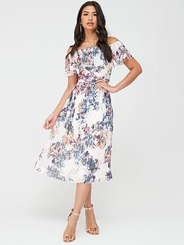 little-mistress-floral-pleated-bardot-midi-dress-multi