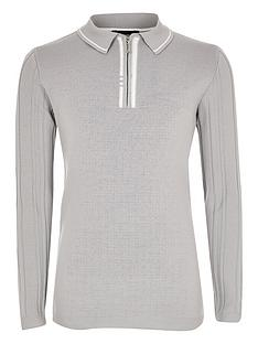 river-island-long-sleevenbsppolyelite-tipped-polo-top-grey