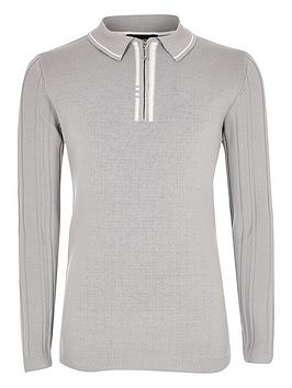 river-island-ls-grey-polyelite-tipped-polo