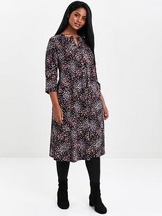 evans-multi-colour-spot-pocket-dress