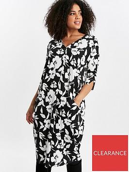 evans-mono-floral-pocket-dress